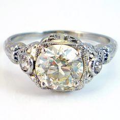 18K Antique Art Deco 1.80ct European Cut Diamond Filigree Engagement Ring