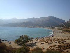 View of the Plakias bay - Plakias, Rethymno (Πλακιάς, Ρέθυμνο), South Crete. Bright Rooms, Flora And Fauna, Crete, Greek Islands, Holiday Destinations, Strand, Beaches, River, Amazing