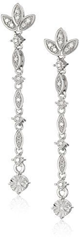 Sterling Silver Diamond Accent Drop Earrings ** Click image for more details.-It is an affiliate link to Amazon.
