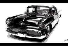 tableau-voiture-americaine-peinture-1957-oldsmobile-starfire