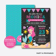 Mermaid Chalkboar... http://partyandprintables.com/products/mermaid-chalkboard-kids-birthday-invitation-editable-instant-download-ckb-148?utm_campaign=social_autopilot&utm_source=pin&utm_medium=pin #partyprintables #birthdayinvitation #partysupplies #partydecor #kidsbirthday #babyshower