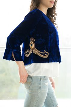 Items similar to Black Cropped Jacket- Embroidered Velvet Jacket with Blue Silk Skirt on Etsy Velvet Cardigan, Velvet Blazer, Velvet Jacket, Casual Day Outfits, Embroidered Jacket, Silk Skirt, Stylish Dresses, Amazing Women, Outfit Of The Day