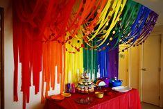 Ideas for birthday decorations diy streamers rainbow parties Streamer Decorations, Streamer Backdrop, Rainbow Party Decorations, Party Streamers, Rainbow Parties, Birthday Party Decorations, Party Themes, Ideas Party, Decorating With Streamers