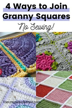 Connecting Granny Squares, Joining Crochet Squares, Granny Square Pattern Free, Knitting Squares, Crochet Stitches Free, Crochet Vest Pattern, Granny Square Crochet Pattern, Crochet Granny, Crochet Blanket Patterns