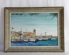 French Vintage Painting Harbour Scene Sea Scape Sailing
