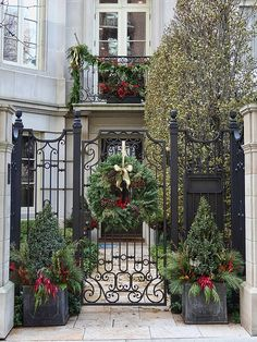 Holiday decorations at the entrance to a building on North Dearborn Street in the Gold Coast area of Chicago, Illinois.