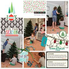 christmas past- tree trimming pocket scrapbooking page by Justine with The Lilypad products  #4photos
