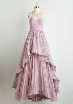 Heiress of Them All Dress - Grey, Solid, Pleats, Special Occasion, Prom, Wedding, Cocktail, Holiday Party, Bridesmaid, Homecoming, Maxi, Sleeveless, Woven, Best, Fit & Flare