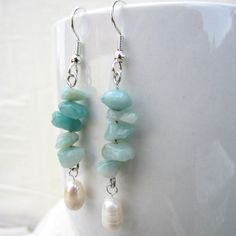Amazonite and Pearl Bracelet and Earrings by SaltwaterDaydreams