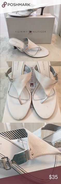 """🆕 Tommy Hilfiger Logos White Leather Sandals 🏝 TH Sandals, silver logo hardware, white leather, very good condition, like new, comes with dust bag. Heels:2"""" run small Tommy Hilfiger Shoes Sandals"""