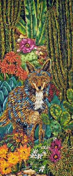 Cactus Coyote - Coyote Paintings by Kendahl Jan Jubb Koi Painting, Fox Crafts, Animal Medicine, Southwestern Art, Desert Art, Nature Artwork, Coyotes, Animal Totems, Future Tattoos