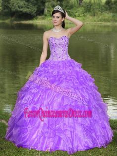 Beaded Purple Clearance Quinceanera Dresses with Ruffles in Organza