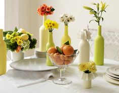 Pretty & cheap! Citrus, DIY Painted Bottles, cheap garden or grocery store bunches of daisies and lilies
