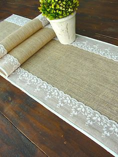 Burlap table runner wedding table runner with ivory Italian lace rustic chic 7 ft , handmade in the USA (I bet I can make this)