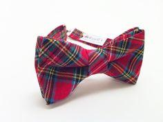 Mens Bow TieTartan Plaid Mens Bow Tie Mens Pre-Tied Bow by Ruells