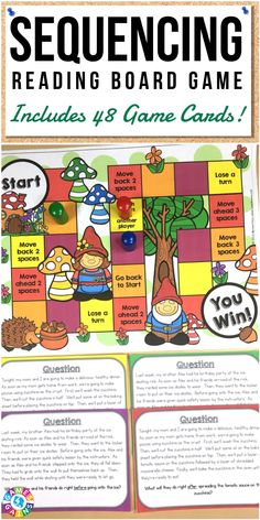 """My kids can't get enough of this and beg me to play! It's awesome!""  This Sequencing Board Game includes 48 game cards for practicing sequence of events. Works great for 3rd, 4th, and 5th grades!"