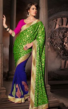 Picture of Charming Green and Navy Blue Color Party Wear Saree