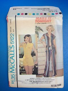 Vintage 1970's McCall's 5122 Pattern // Misses' Jumpsuit or Playsuit w Blue Transfer for Embroidery // Size Large Bust 40/42 Waist 32/34 FF. I do love a jumpsuit!!!