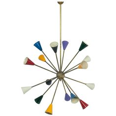 Multicolored Sputnik Chandelier, Mid-Century Modern, Italy | From a unique collection of antique and modern chandeliers and pendants at https://www.1stdibs.com/furniture/lighting/chandeliers-pendant-lights/