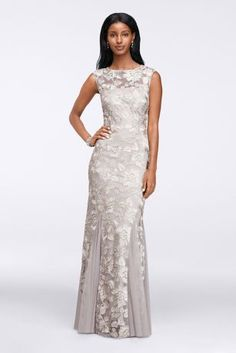 This long sequin dress is a lovely choice forthe mother of the brideand wedding guests, too. Sequin flowers glitter across the entire length of the gown, while contrasting godets make the skirt move gracefully..   By Alex Evenings.  Back Zipper; Fully Lined  Dry clean  Imported To protect your dress, our Non Woven Garment Bag is a must have!