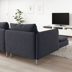 IKEA - SÖDERHAMN, Sectional, with chaise, Samsta dark gray, All sections in the SÖDERHAMN sofa series can be used freestanding or put together into exactly the sofa combination you want and need ‒ both big and small. Söderhamn Sofa, Ikea Sofa, Condo Living Room, Ikea Family, Bed Slats, Comfortable Sofa, Sit Back And Relax, Fabric Sofa, Wood Veneer