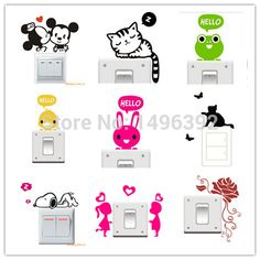 Big Promotion Wholesale 20 Styles Cartoon Animal  Eco Friendly Home Decoration Switch Sticker Wall Stickers for Kids Room-in Wall Stickers from Home & Garden on Aliexpress.com | Alibaba Group
