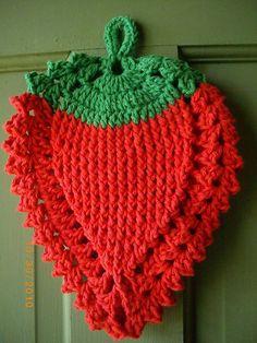 Strawberry crochet potholder