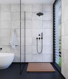 Bathroom interior visualisation in minimalism style. Bathroom Vanity Units, Attic Bathroom, Bathroom Renos, Bathroom Fixtures, Bathroom Interior, Master Bathroom, Ceramic Tile Bathrooms, Concrete Bathroom, Modern White Bathroom