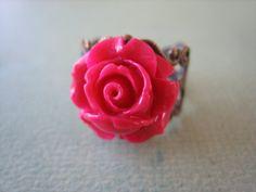 Petite Magenta Rose Flower Ring  Adjustable Antique by ZARDENIA, $9.00