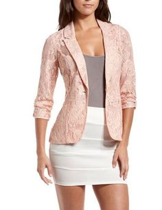 79ccbdf7c6583 Pink Crochet Lace Blazer  Charlotte Russe bought this today. Christina Van  Zante · Spring outfits