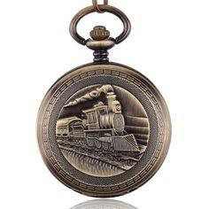 Bronze Steampunk Skeleton Male Clock Train Locomotive Engine Mechanical  Pocket Watch Chain Double Open Face Retro Pocket Watch