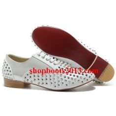 Discount Christian Louboutin Fred Flat Spikes Flats White Louboutin Loafers, Cheap Christian Louboutin, Cl Shoes, Red Bottom Shoes, Spikes, Womens Flats, Loafers Men, Fashion Shoes