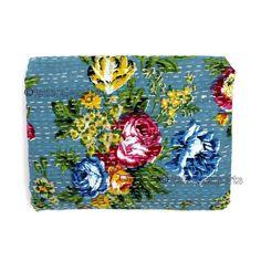 Queen Kantha Quilt Indian Bedding Handmade Bedspread Cotton Throw Bedcover X028 #Handmade #Kantha