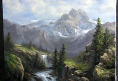 Oil painting sunlight across a cliff face, landscape with Kevin Hill. Using many techniques for landscape painting, this large cliff painting is created with. Acrylic Painting Lessons, Painting Videos, Painting Techniques, Painting Tips, Painting Art, Mountain Landscape, Landscape Art, Landscape Paintings, Watercolor Paintings