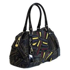 Versace Jeans Couture VJC E1VABB22 Black/Multicolor Embroidery Speedy/Top Handle Bag