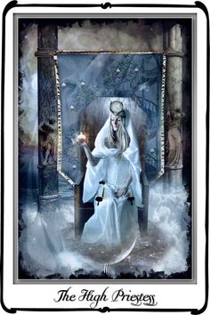 HIGH PRIESTESS | We do not know how to pass the pillars to the waters (irrational wisdom of the unconscious) | Pool behind Pillars = The Unconscious, Hidden Truth | Secrets hidden in Depths of Water | We cannot enter the Temple b/c we do not Know how to Go Into Ourselves
