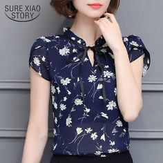 Cheap women blouses, Buy Quality large sizes directly from China blouse women Suppliers: New 2018 Floral Chiffon Blouses Women Summer Tops And Shirts Bow Sweet Blouse Female Short Sleeve Clothing Feminina 0009 30 Casual Summer Dresses, Nice Dresses, Dress Casual, Female Shorts, Shirt Blouses, Chiffon Blouses, Floral Chiffon, Summer Tops, Women's Fashion Dresses