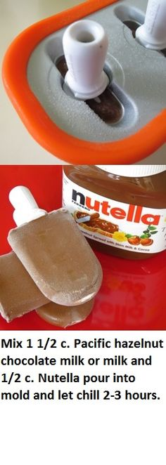 Homemade Nutella fudgesicles. I may have to get some popsicle molds!