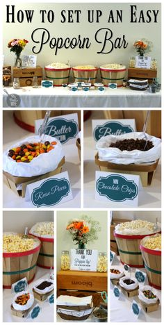 Want to set up your very own popcorn bar at your next party? I set one up at my brother and sister in law's bridal shower and everyone loved it. Wedding Popcorn Bar, Movie Night Party, Movie Nights, Party Food Bars, Reception Food, Food Stations, Popcorn Recipes, Catering, Bar Drinks