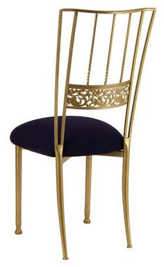 Classic Party Rentals, Gold Bella Fleur with Black Stretch Knit Cushion