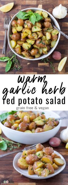 Warm Garlic Herb Red Potato Salad (Gluten Free & Vegan) Make a healthier potato salad that's great any time of year! This Warm Garlic Herb Red Potato Sal Party Side Dishes, Side Dishes For Bbq, Vegan Side Dishes, Potato Side Dishes, Vegetable Side Dishes, Egg Free Recipes, Side Dish Recipes, Potato Recipes, Dishes Recipes