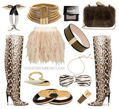 What to Wear to a Jungle Queen Halloween Party Tom Ford Over the knee Anaconda Boots Balmain African Gold Plate Brass Necklace Kotur Morley Snakeskin Clutch Givenchy Large Cone Earring