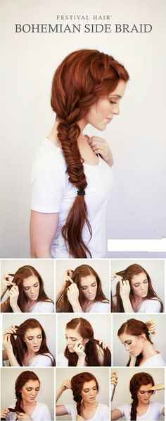 Teenage Fashion Blog: BOHEMIAN SIDE BRAID FESTIVAL HAIR TUTORIAL:
