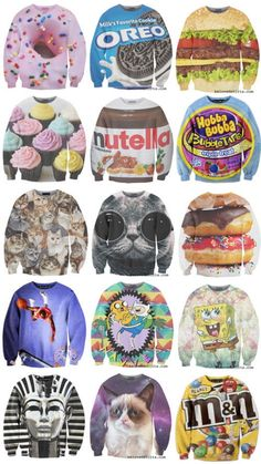 PUBLISHED by catsmob.com / sweatshirts / graphics / pop culture / crazy colours / nutella / grumpy ca / oreo