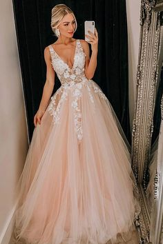 Light Pink Tulle V Neck Applique Lace Wedding Dress/Prom Dress - Prom Dresses African Prom Dresses, Senior Prom Dresses, Prom Outfits, V Neck Prom Dresses, Ball Dresses, Ball Gowns, Dress Prom, Party Dress, Party Gowns