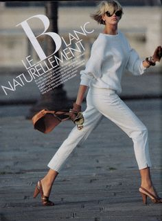 ELLE France 18th June 1984 Love everything about this outfit: from the shoes to the sweater and the hair!