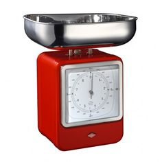 Wesco Retro Scales with Clock - Red - retro red kitchen scales