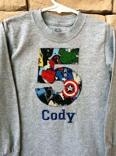 AVENGERS BIRTHDAY Shirt. Kids Appliquéd Personalized T-shirt. by BugaboosCloset | Etsy