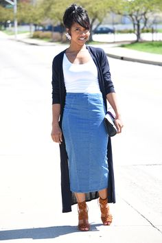 Denim skirt, Maxi Cardigan, Outfit Idea, Skirt Outfit Ideas, Spring Outfit Idea, Indianapolis Style Blogger,