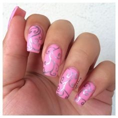 Delicate silver print over pink nail polish===== Check out my Etsy store for some nail art supplies https://www.etsy.com/shop/LaPalomaBoutique